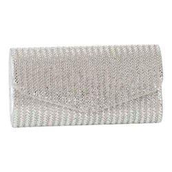 Women's J. Furmani 81313 Bling Flap Clutch Silver