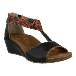 Women's L'Artiste by Spring Step Breckel T Strap Sandal Black Multi Leather