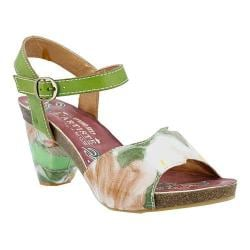 Women's L'Artiste by Spring Step Mauri Ankle Strap Sandal Green Multi Leather