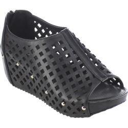 Women's Beston Elva-08 Caged Wedge Sandal Black Faux Leather