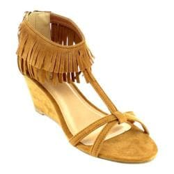 Women's Beston Frisky-01 Fringe Wedge Sandal Tan Faux Suede
