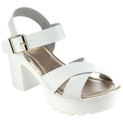 Women's Beston Gaga-07 Ankle Strap Sandal White Faux Leather