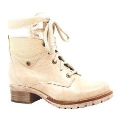 Women's Dromedaris Kara Met Emboss Lace Up Boot Beige Soft Waxy Leather/Suede