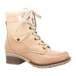 Women's Dromedaris Kara Met Emboss Lace Up Boot Nude Soft Waxy Leather/Suede