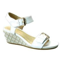 Women's David Tate Touch Wedge Sandal White Calfskin