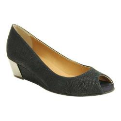 Women's VANELi Blair Peep-Toe Wedge Navy Molly Rodi Print/Suede