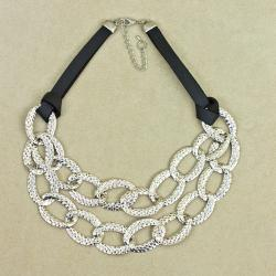 Textured Chain Statement Necklace