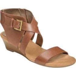 Women's Aerosoles Propryetor Wedge Sandal Dark Tan Leather