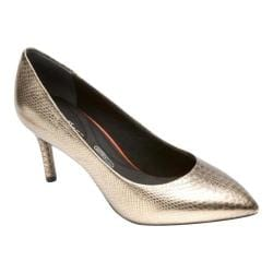 Women's Rockport Total Motion 75mm Pointy Pump Light Gold Leather