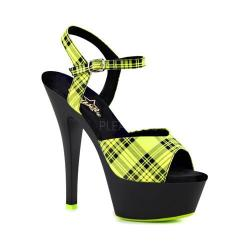 Women's Pleaser Kiss 209PL Ankle-Strap Sandal Neon Lime Plaid Synthetic/Black Matte