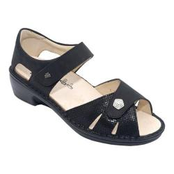 Women's Finn Comfort Easton Ankle Strap Sandal Black Points/Buggy