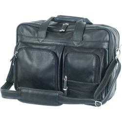 Mercury Luggage Sondrio Leather Multi-Pocket Attache Black