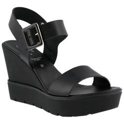Women's Azura Leah Wedge Platform Sandal Black Leather
