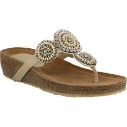 Women's Azura Lori Thong Sandal Beige Leather
