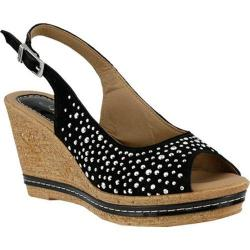 Women's Azura Showtime Studded Wedge Sandal Black Suede