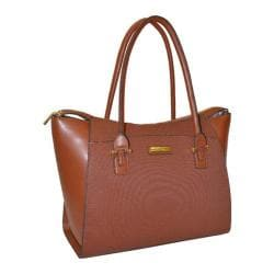 Women's Adrienne Vittadini 15in Basket Weave Textured Business Laptop Tote Cognac