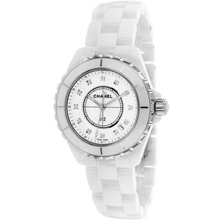 Chanel Women's H1628 J12 Quartz Round White Ceramic Bracelet Watch