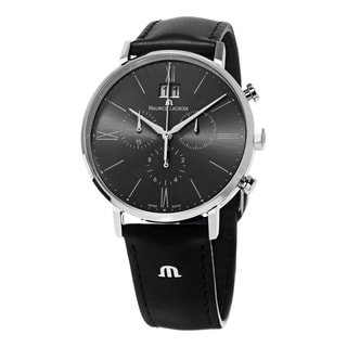 Maurice Lacroix Men's EL1088-SS001-810 'Eliros' Grey Dial Black Leather Strap Chronograph Watch