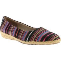 Women's Beacon Shoes Gulf Port Espadrille Wedge Slip On Black Multi Fabric