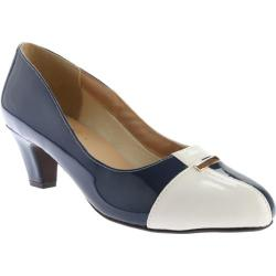 Women's Beacon Shoes Barbara Pump Navy/White Patent Polyurethane