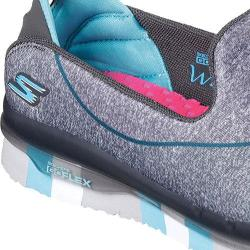 Girls' Skechers GO FLEX Walk Slip On Charcoal/Blue