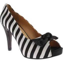 Women's Beacon Shoes Marian Open Toe Pump White/Black Textile
