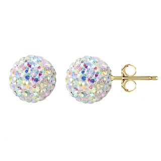 14k Yellow Gold AB Pave Crystal 7.5mm Ball Stud Earrings