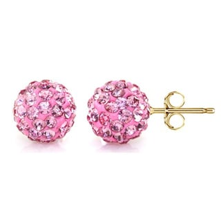 14k Yellow Gold Rose Pave Crystal 7.5mm Ball Stud Earrings