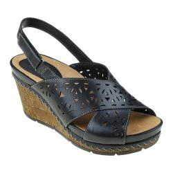 Women's Earth Aries Slingback Wedge Sandal Black Leather