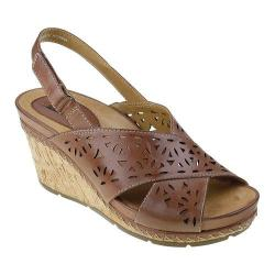 Women's Earth Aries Slingback Wedge Sandal Brown Leather