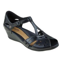 Women's Earth Rosemary T Strap Wedge Black Soft Calf Leather