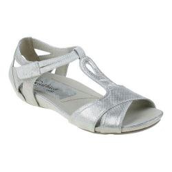 Women's Earthies Ponza T Strap Sandal Off White Metallic Snake Print Leather