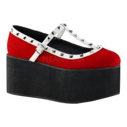 Women's Demonia Click 07 T-Strap Red Canvas/Black-White Vegan Leather