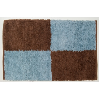 Pam Grace Creations Oh So Shaggy Chocolate Blue Truffle Rug