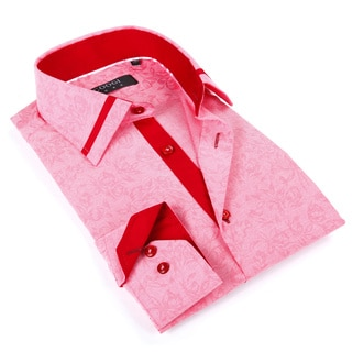 Coogi Luxe Men's Pink and Red Button-up Dress Shirt