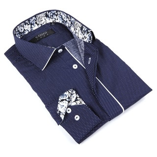 Coogi Luxe Men's Navy Polka Dot Button-up Dress Shirt