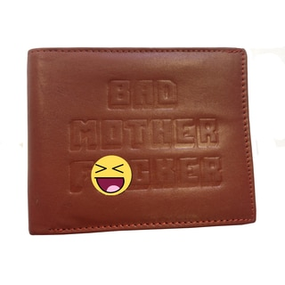Bad Mother F*cker Embossed Brown Leather Wallet