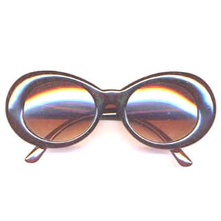 Plastic Brown Oval Sunglasses