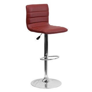 Offex Contemporary Vinyl Adjustable Height Bar Stool with Chrome Base