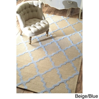 nuLOOM Hand-hooked Alexa Moroccan Trellis Wool Rug (3'6 x 5'6) in Beige/Blue (As Is Item)