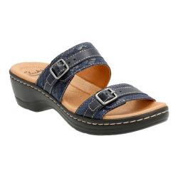 Women's Clarks Hayla Mariel Slide Navy Snake Embossed Leather/Suede Combination