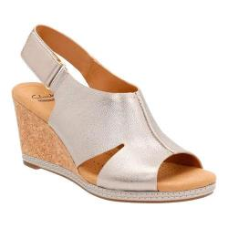 Women's Clarks Helio Float 4 Wedge Sandal Pewter Metallic Leather