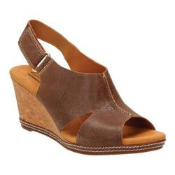 Women's Clarks Helio Float 4 Wedge Sandal Brown Suede