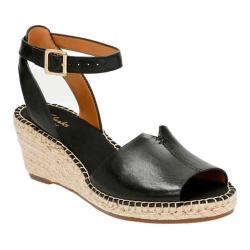 Women's Clarks Petrina Selma Ankle Strap Sandal Black Full Grain Leather