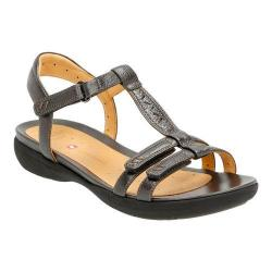 Women's Clarks Un Vaze Ankle Strap Sandal Pewter Metallic Full Grain Leather