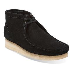 Men's Clarks Wallabee Boot Black/Black Suede