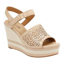 Women's Clarks Zia Graze Wedge Sandal Nude Leather 18387795