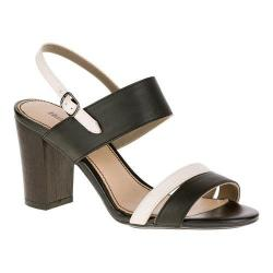 Women's Hush Puppies Molly Malia Quarter Strap Sandal Black/Off White Leather