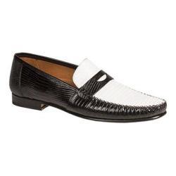 Men's Mezlan Cubas Penny Loafer Black and White Genuine Lizard/Calfskin