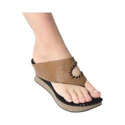 Women's MODZORI Juna Wedge Thong Sandal Light Brown/Black